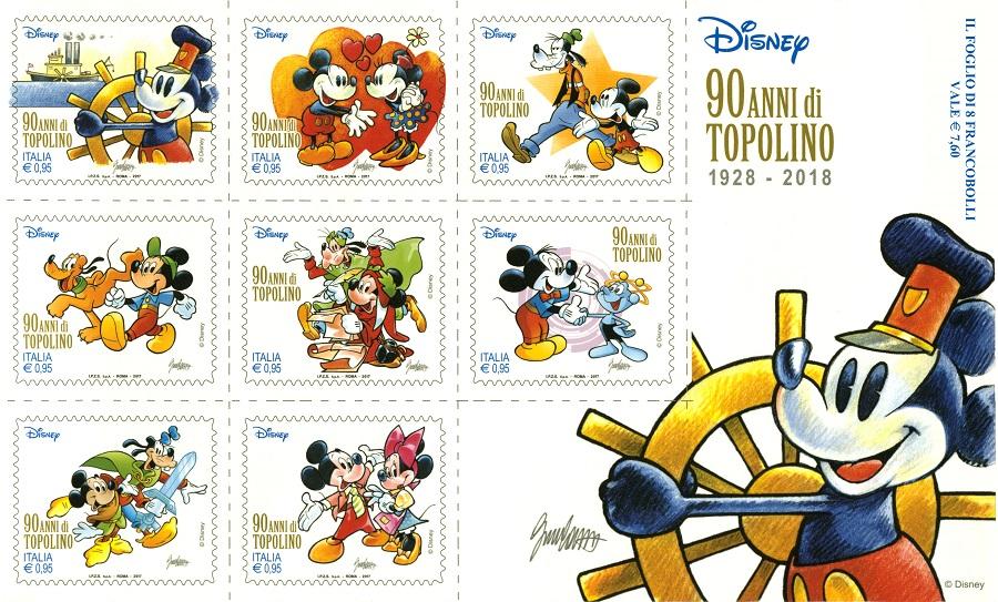 La serie di francobolli per i 90 anni di Topolino