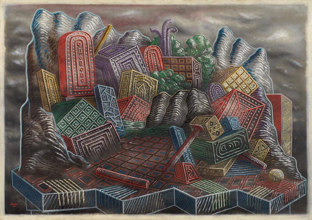 Alberto Savinio, L'Île des Charmes, 1928. Museo d'Arte Moderna _Mario Rimoldi_, Cortina d'Ampezzo. (c) 2017 Artists Rights Society (ARS) _ SIAE, Rome