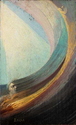 BLINDARTE, 29 novembre, Lotto 35 Giacomo Balla, Scena spirituale (uomo e donna nel fluido compenetrato di luce), Olio su tavola, cm 33,5x20,5, Eseguito nel 1925 30 circa