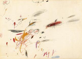 BLINDARTE 29 novembre, Lotto 95, Cy Twombly, Senza titolo, 1962, Olio, pastelli a cera, matite colorate, biro e grafite su carta, cm 50x70