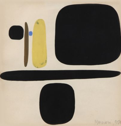 Bruno Munari, Composizione, 1950, tempera su carta, cm 17 x 17