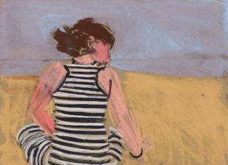 Chantal Joffe, Esme in a Striped Dress, pastel on paper, 2016