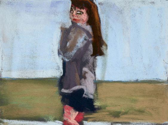 Chantal Joffe, Esme on the Beach, pastel on paper, 2016