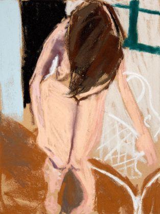 Chantal Joffe, Leaning Forward in the Garden, pastel on paper, 2016
