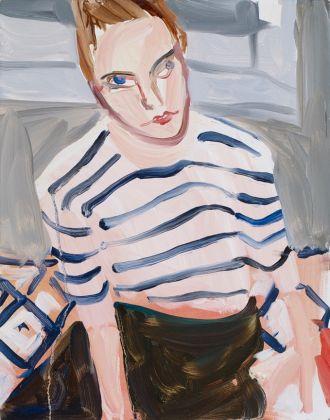Chantal Joffe, Moll in Stripes, oil on board, 2017