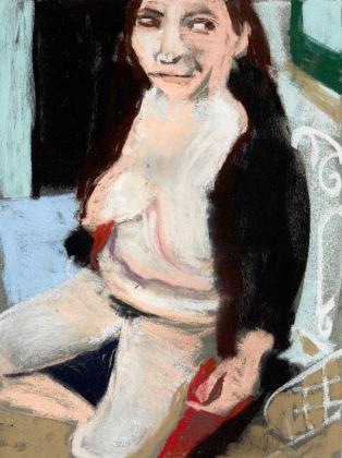 Chantal Joffe, Self Portrait in a Fake Fur Coat II, pastel on paper, 2016