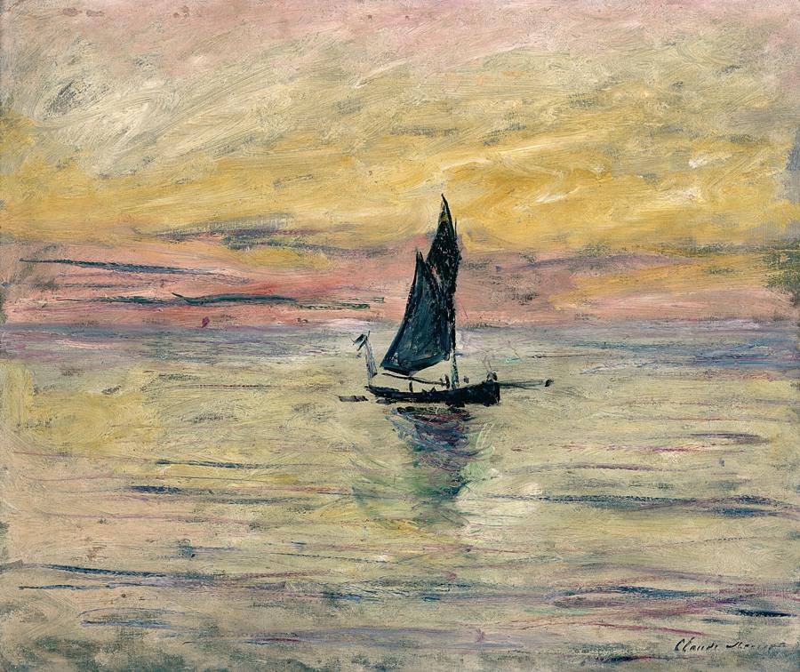 barca a vela in mezzo al mare al tramonto