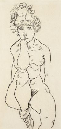 Egon Schiele, Sitzender Akt von vorn (1917), Foto Galerie Kovacek & Zetter