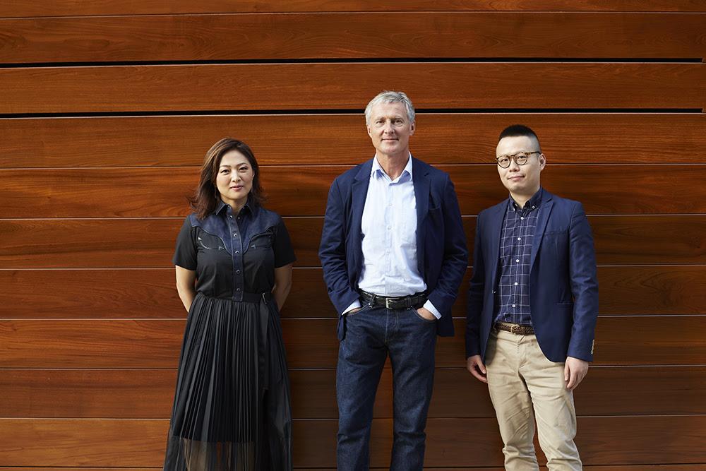 From left to right. Jennifer Yum, David Zwirner, Leo Xu. Photo Anna Bauer