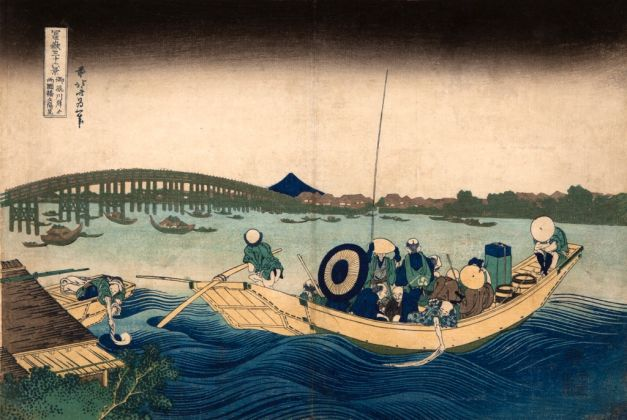 Katsushika Hokusai, Veduta del tramonto presso il ponte Ryogoku dalla sponda del pontile di Onmaya, dalla serie Trentasei vedute del monte Fuji, 1830-32. Kawasaki Isago no Sato Museum