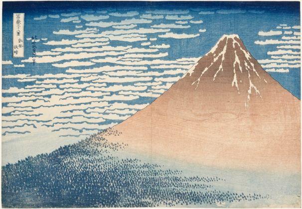 Katsushika Hokusai, Giornata limpida col vento del sud (o Fuji Rosso), dalla serie Trentasei vedute del monte Fuji, 1830-32 ca. Kawasaki Isago no Sato Museum