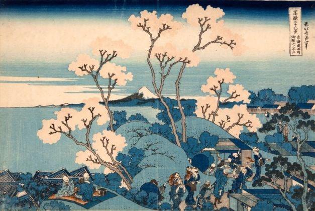 Katsushika Hokusai, Il Fuji da Gotenyama presso Shinagawa sul Tōkaidō, dalla serie Trentasei vedute del monte Fuji, 1830-32 ca. Kawasaki Isago no Sato Museum