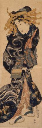 Keisai Eisen, Cortigiana che indossa un abito con disegni di nuvole e dragoni, 1818-30 ca. Chiba City Museum of Art