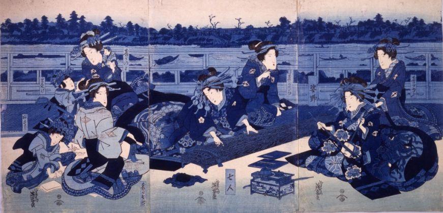 Keisai Eisen, Cortigiane e loro assistenti presso un accampamento temporaneo, 1836. Chiba City Museum of Art