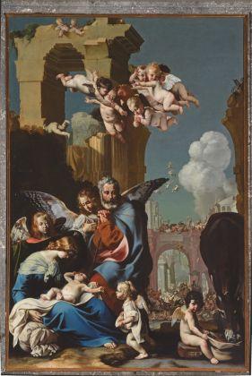 Luigi Miradori detto il Genovesino, Riposo nella fuga in Egitto, Cremona, Sant'Imerio. Tela, cm 320 x 220