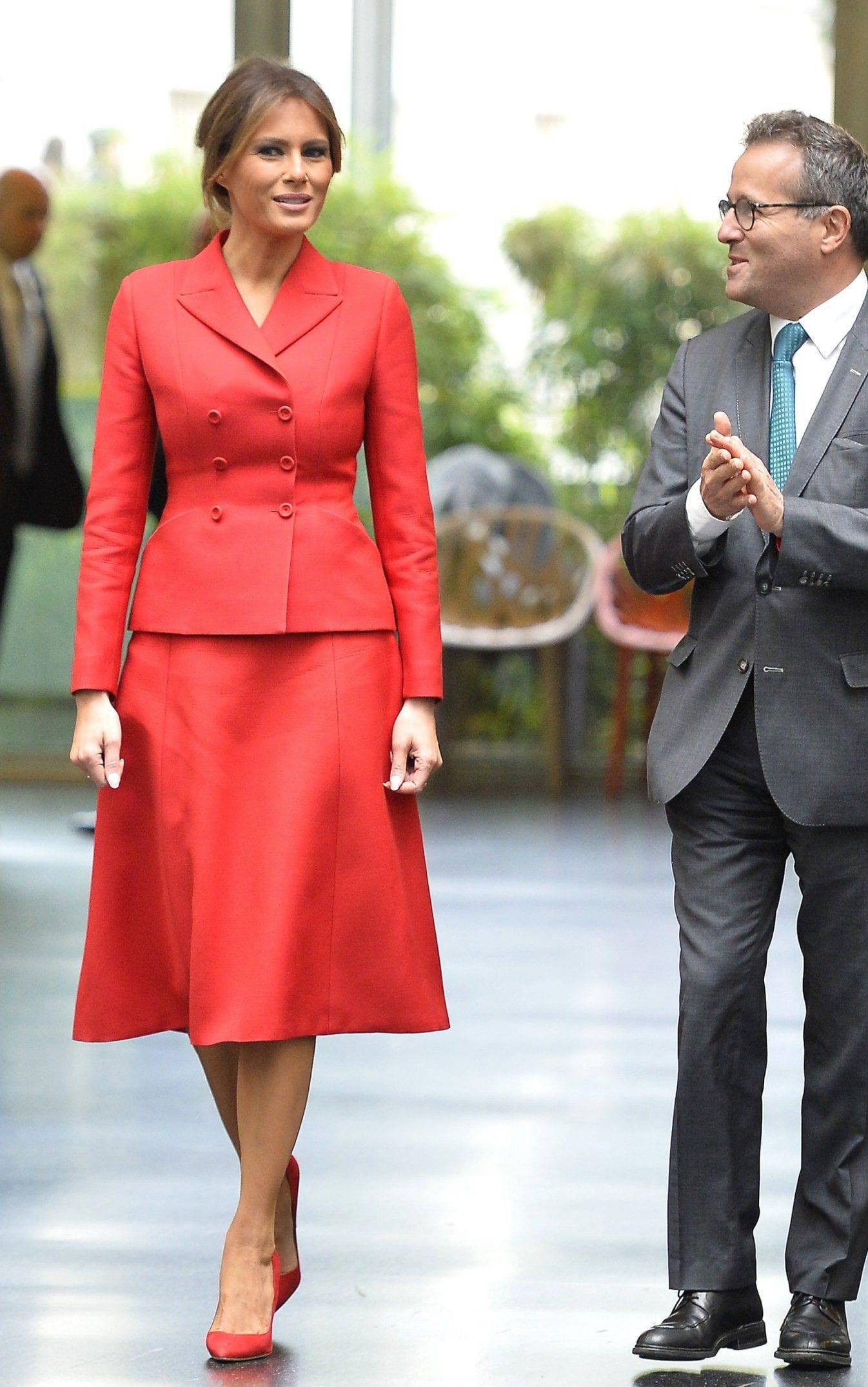 Melania Trump con un abito di Dior