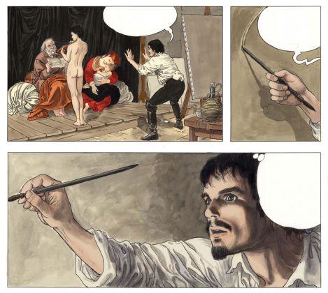 Milo Manara, Caravaggio, Volume I, p. 35, credits Milo Manara 2017