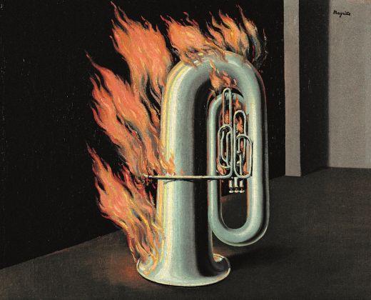 René Magritte, La Découverte du feu, 1934 o 1935, olio su tela, 33 × 41 cm, collezione privata