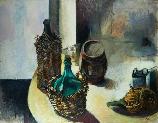 Renato Guttuso, Damigiana e bottacino (Natura morta nordica), 1959. Sicily Art and Culture, Palermo, società strumentale della Fondazione Sicilia