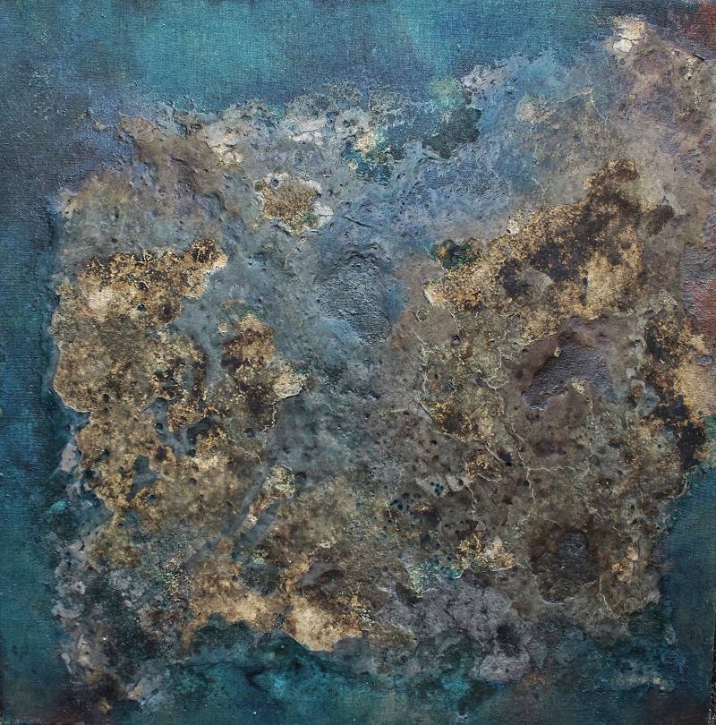 TTozoi, Senza Titolo, cm 90X90, tecnica mista su tela di juta e muffa, 2014