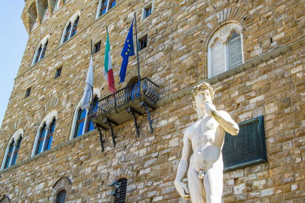 Una copia del David di Michelangelo in Piazza della Signoria a Firenze