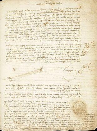 Codice Leicester: studi sulla riflessione dei raggi solari dalla Terra alla Luna.
