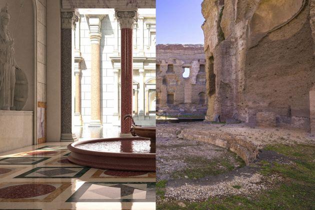 Terme di Caracalla, Frigidarium. Confronto prima/ora