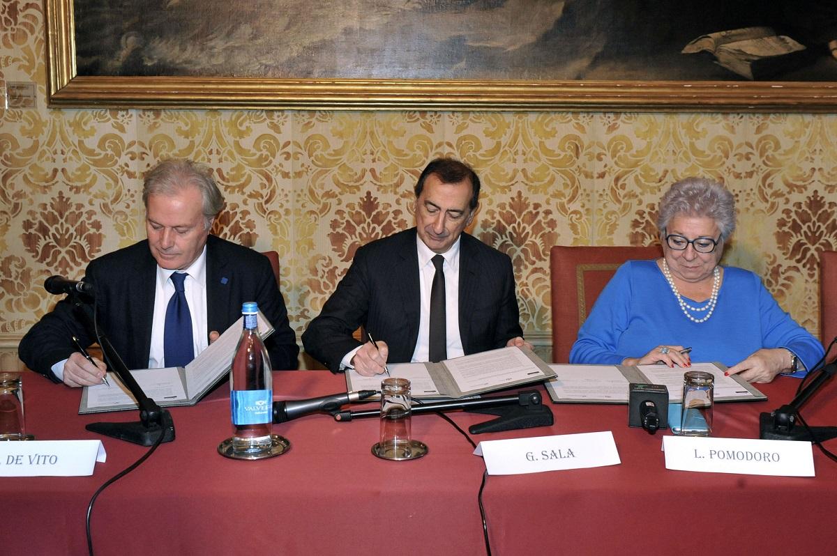 Carlo De Vito, Giuseppe Sala e Livia Pomodoro in conferenza stampa