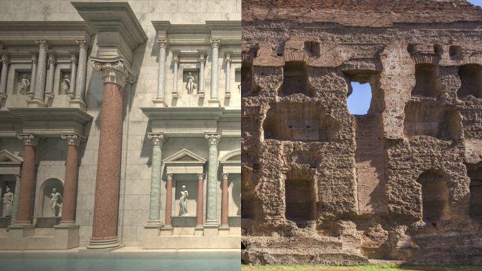 Terme di Caracalla, Natatio. Confronto prima/ora