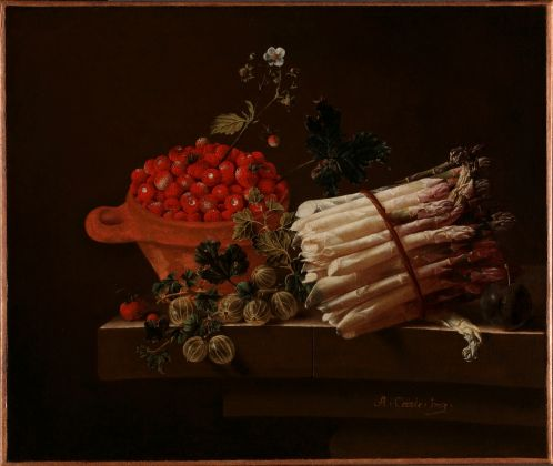 Adriaen Coorte, Still Life with a Bowl of Strawberries, a Spray of Gooseberries, Asparagus and a Plum, 1703, Gift from the collection of Willem Baron van Dedem, 2017 © The National Gallery, London