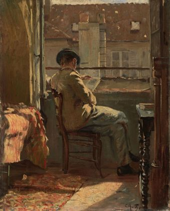 Cuno Amiet, Giovanni Giacometti legge alla finestra Parigi, 1890. Collezione privata. (c) M.+D. Thalmann, Herzogenbuchsee. Photo credit SIK ISEA, Zurigo (Philipp Hitz)