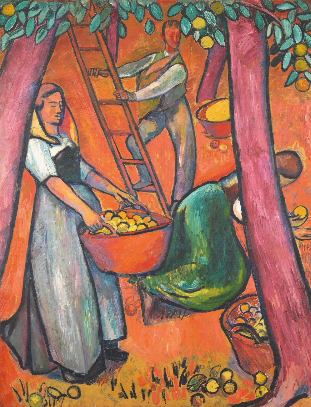 Cuno Amiet, La raccolta della frutta I, 1914. Collezione privata. (c) M.+D. Thalmann, Herzogenbuchsee. Photo credit SIK ISEA, Zurigo (Philipp Hitz)