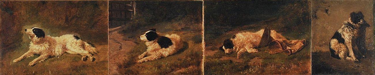 Filippo Palizzi, Quattro studi di cane da pastore, 1845