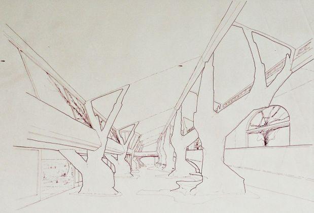 Giardino degli Incontri. Disegno di progetto con prospettiva interna © Archivio Fondazione Michelucci
