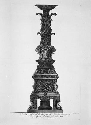 Giovan Battista Piranesi, Candelabro forse realizzato per Abbondio Rezzonico, Vasi, candelabri, cippi…, tav. XXVII, Roma 1778