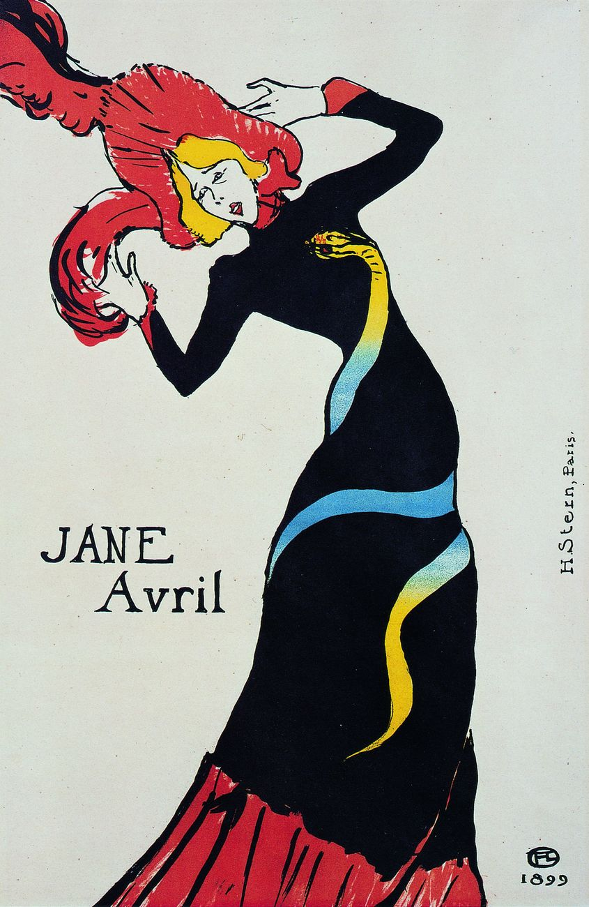 Henri de Toulouse-Lautrec, Jane Avril, 1899, litografia, Bibliothèque Nationale de France, Parigi