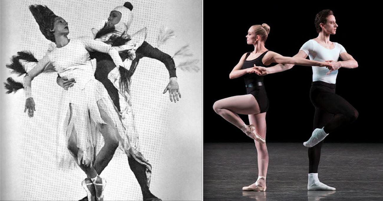 I quattro temperamenti. A sx Eise Reiman e Herbert Bliss con i costumi originali di Seligmann, 1951. A dx, lo spettacolo del New York City Ballet, 2017. Photo Paul Kolnik