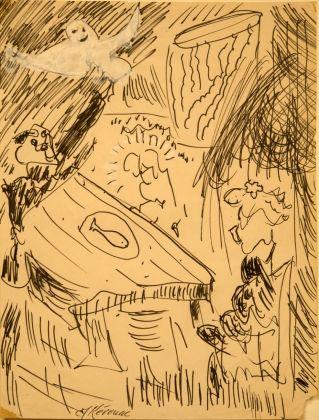 Jack Kerouac, Senza Titolo, N.D., pennarello, acquerello e vinavil su carta, 28x22 cm