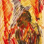 Jack Kerouac, Senza Titolo, N.D., pennarello e inchiostro su carta, 20x12,5 cm