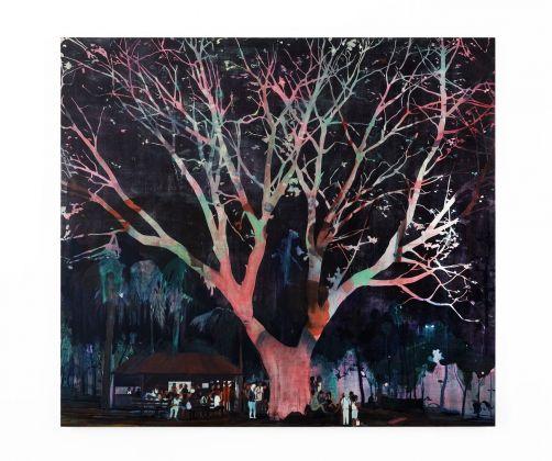 Jules de Balincourt, Waiting Tree, 2012, olio e acrilico su tavola, 198,1x221x6,1 cm