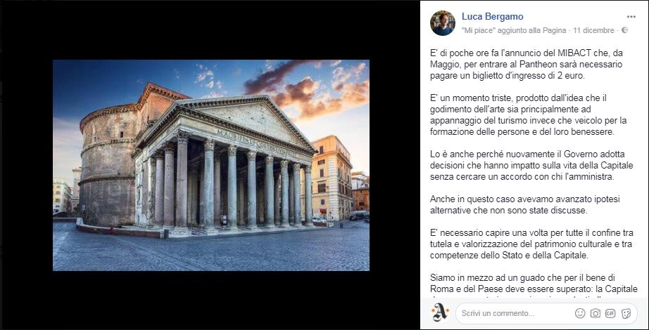 Il post su Facebook di Luca Bergamo