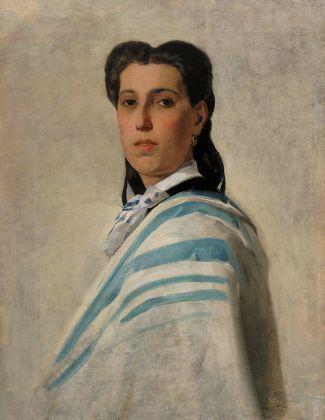 Luigi Busi, Ritratto femminile con drappo bianco azzurro, collezione privata