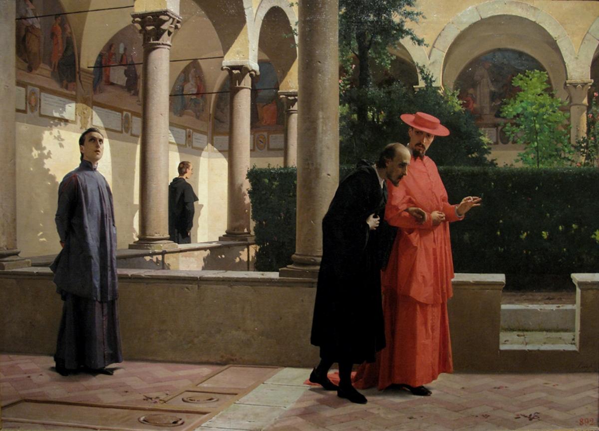 Luigi Busi, Torquato Tasso e il Cardinale Cinzio Aldobrandini nel convento di Sant'Onofrio a Roma, 1863 64, Pinacoteca Nazionale di Bologna