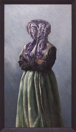 Markus Schinwald, Beth, 2012, olio su tela, 145x80,6 cm
