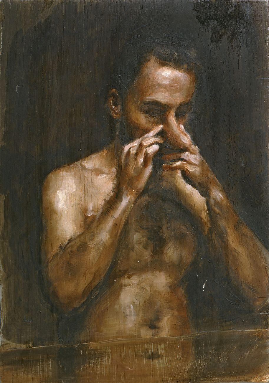 Michael Borremans, The Measure II, 2007, olio su legno, 27,8x19,7 cm