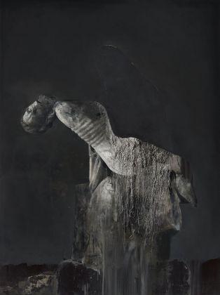 Nicola Samorì, Sciapode mariano, 2016, olio su legno, 200x150x8 cm