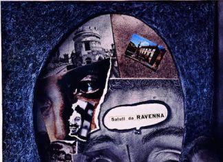 Piero Dosi Autoritratto Saluti da Ravenna 1978 tecnica mista su carta