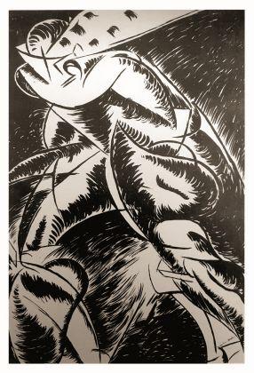 Umberto Boccioni, Forme uniche della continuit+á nello spazio, 1912 1913, litografia, collezione Gino Agnese