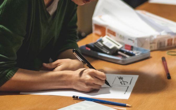 Un'immagine dal Treviso Comic Book Festival. Workshop di inchiostrazione del fumetto con Matteo Alemanno, photo Melania Mely Pavan