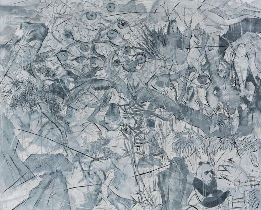 Yue Minjun, The Broken Dream Garden 10, 2015, olio su tela, 200x250 cm